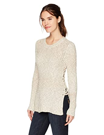 23640a8b56 Lucky Brand Women s Side Lace Up Sweater at Amazon Women s Clothing store
