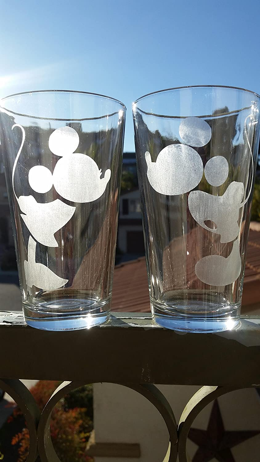 Minnie & Mickey Mouse Disney Inspired Pint Glass Set 16 oz. Beer Cups