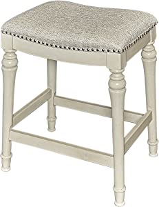 Powell Hayes Counter Stool, White with GreyWash