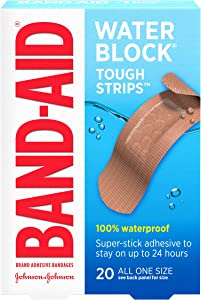 Band-Aid Brand Water Block Waterproof Tough Adhesive Bandages, All One Size, for Wound Care of Minor Cuts and Scrapes, 20 ct (Pack of 3)