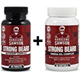 Beard Grower Vitamins & Omega-3 Beard Growth Product to Grow Thicker Beard Faster   A best facial hair grower, beard vitamin - for Beard Starter, Patchy Beard or to Grow Thick Beard