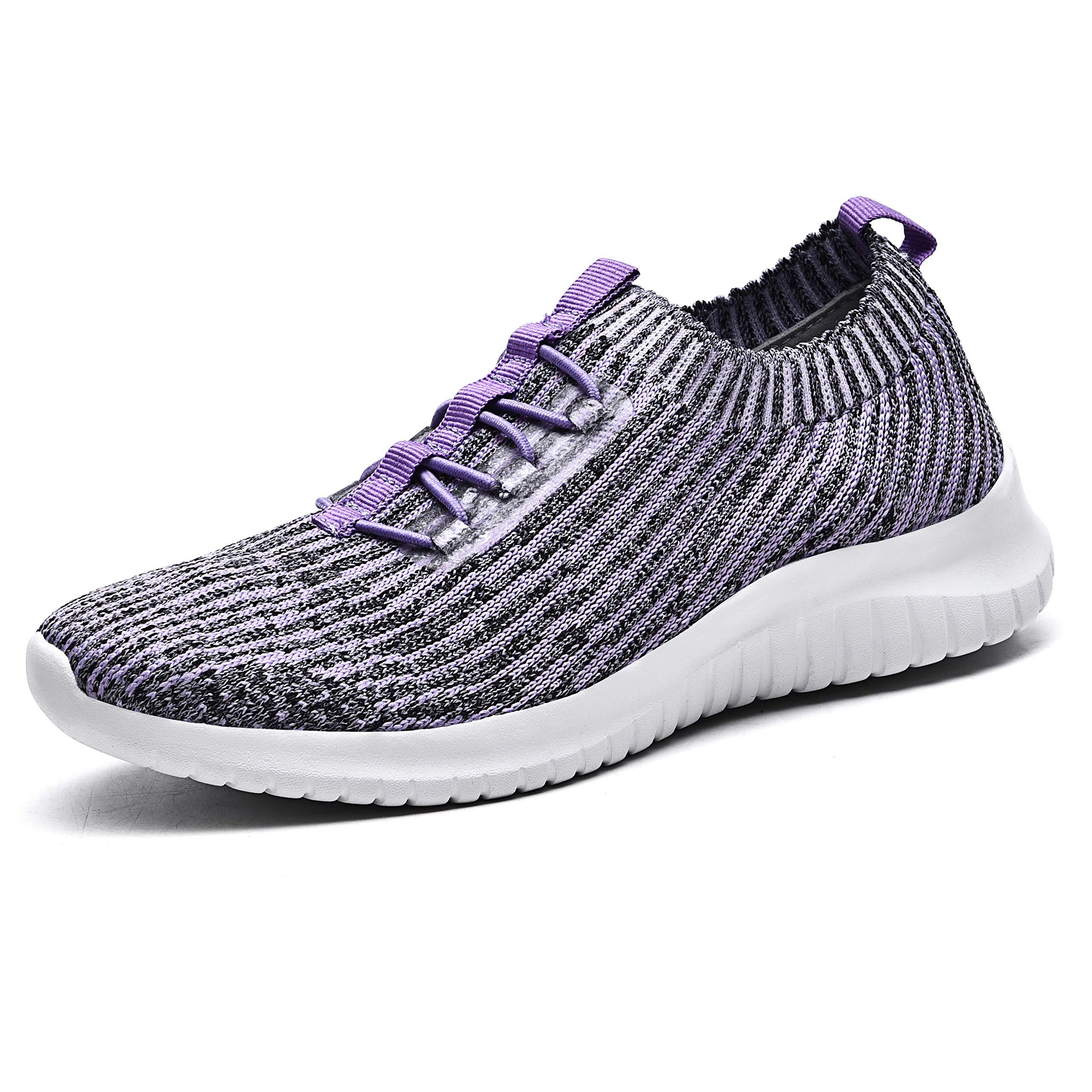 TIOSEBON Women's Athletic Walking Shoes Comfortable Slip-On Running Sneakers 10 US Light Purple