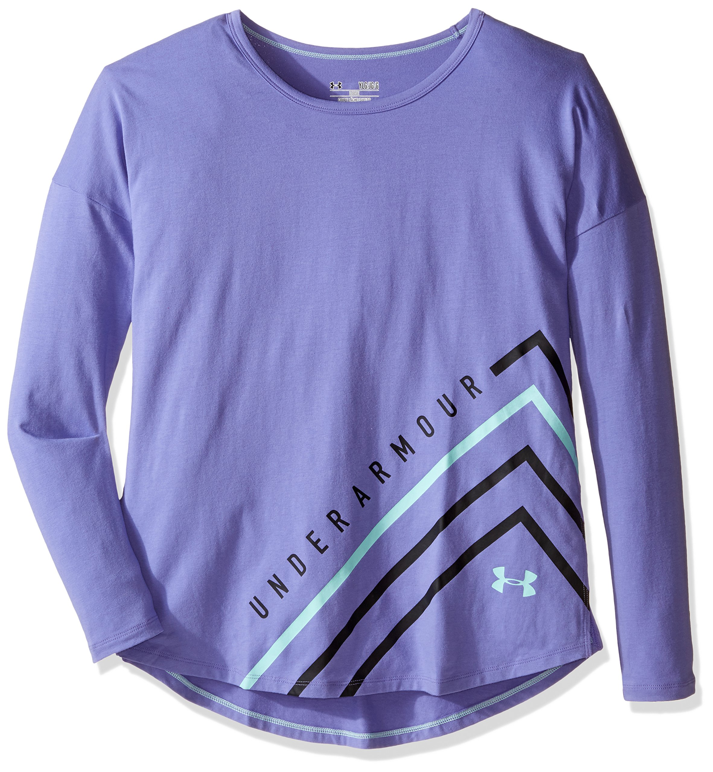 Under Armour Girls' Dazzle Long Sleeve, Violet Storm/Crystal, Youth X-Large by Under Armour