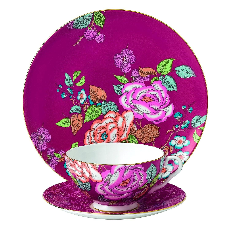 Amazon.com | Wedgwood 3 Piece Tea Garden Tea Plate Set, Raspberry ...