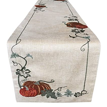 "Lintex Cottage Pumpkin Vine Embroidered Thanksgiving and Fall Harvest Fabric Table Runner - Pumpkin Orchard Embroidered Kitchen and Dining Room Table Runner, 72"" Long Table Runner best thanksgiving runners"