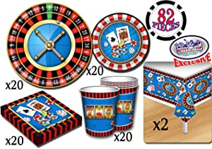 Deluxe Casino Night Theme Party Supplies Set for 20 People, Includes 20 Large Plates, 20 Small Plates, 20 Napkins, 20 Cups & 2 Table Covers - Perfect for Casino Night or Birthday (82 Pieces Total)