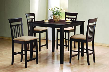 Coaster Home Furnishings 5 Piece Modern Transitional Square Counter Height  Dining Set   Cappuccino
