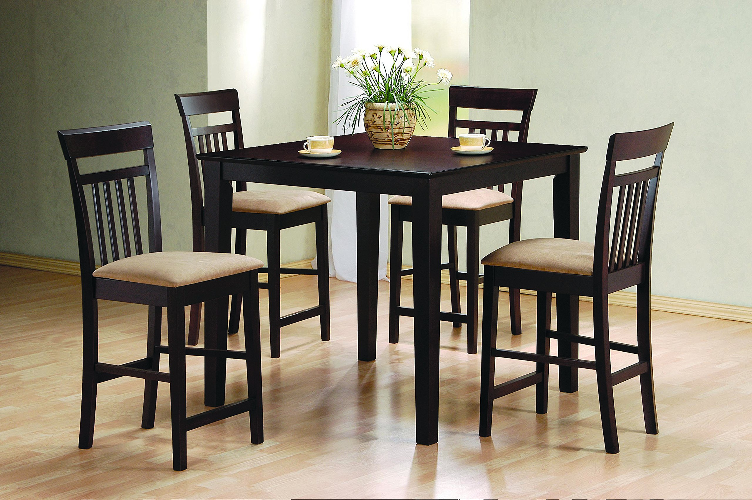 Coaster Home Furnishings  5 Piece Modern Transitional Square Counter Height Dining Set - Cappuccino