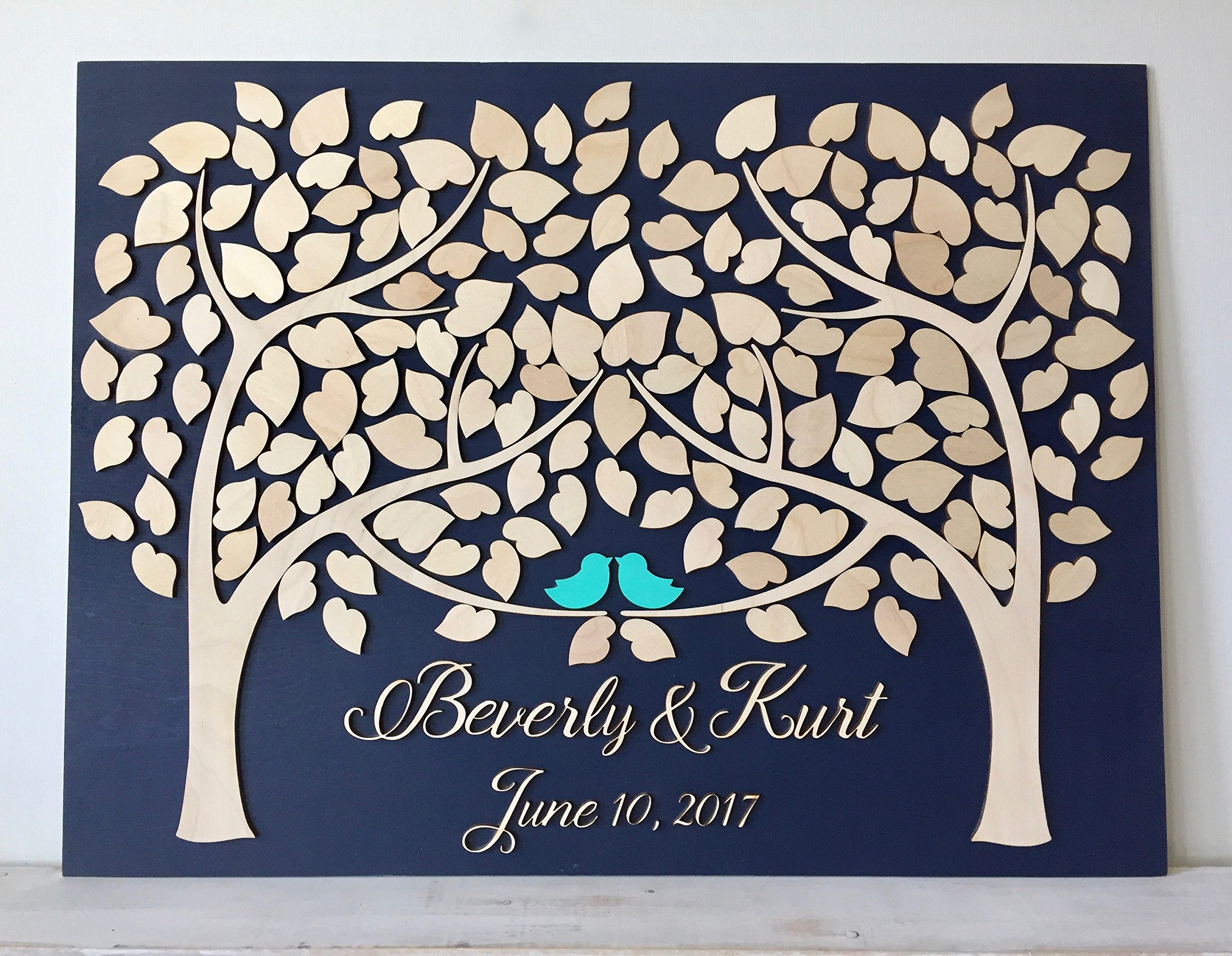 LOVE NILE Wedding Guest Book Alternative 3D Guestbook Wood Tree of Hearts Two Trees Grow Into One Navy Blue Wedding Decor Rustic Guest Book by LOVE NILE (Image #1)