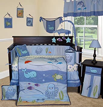 sisi baby bedding under the sea 13 pcs boy crib baby nursery bedding set - Baby Bedding For Boys