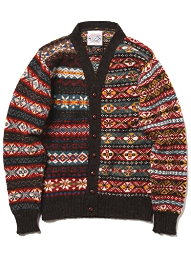 Jamieson's Fairisle Crazy V-neck Cardigan 11-15-0760-247: Geometric