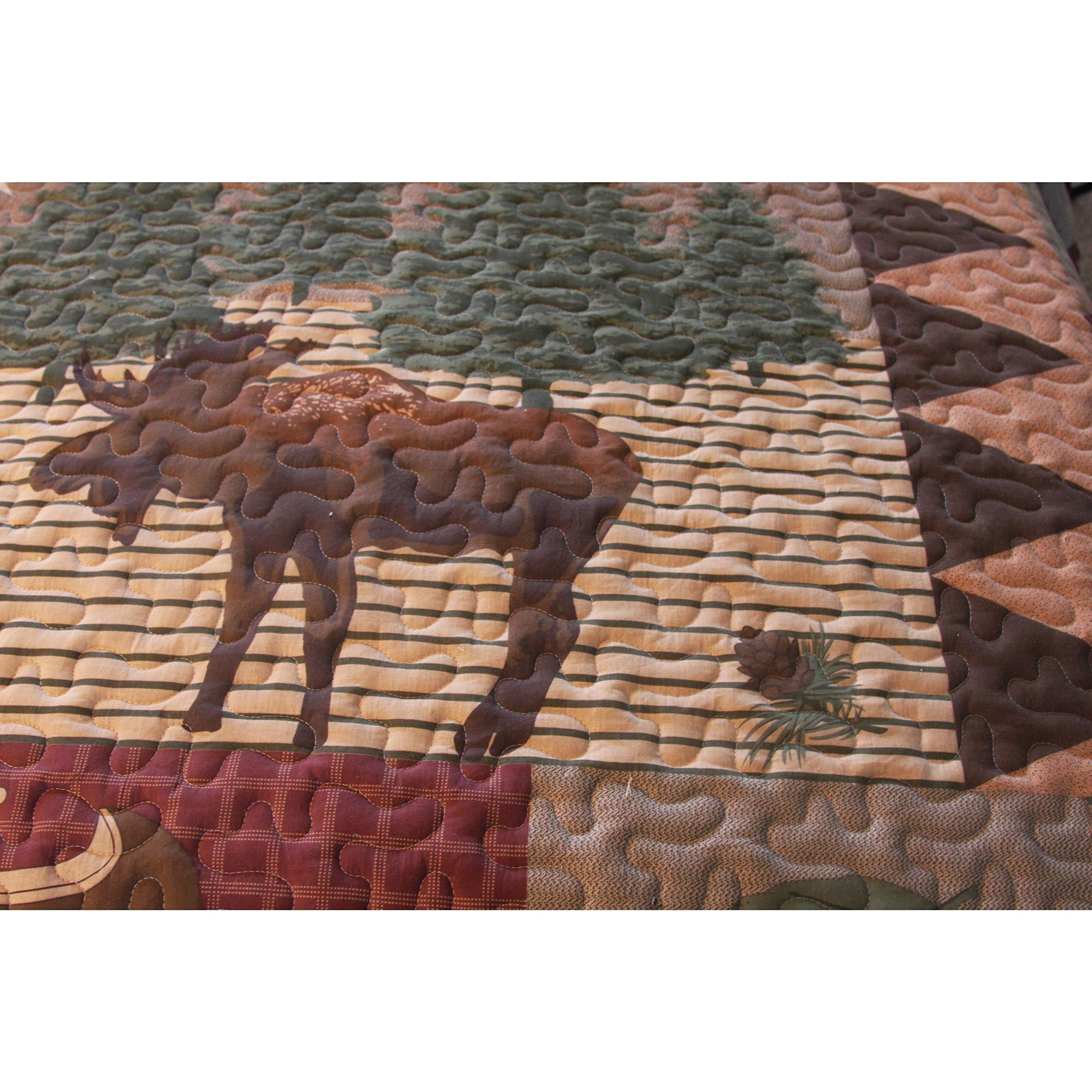 PH 3 Piece King Moose Quilt Set Wilderness Retreat Grey Chocolate Brown Light Plants Forest Green Leaf Animal Fish Red Burgundy Cabin Nature Black Loon Water Earth Tones Lodge Wildlife Bedding