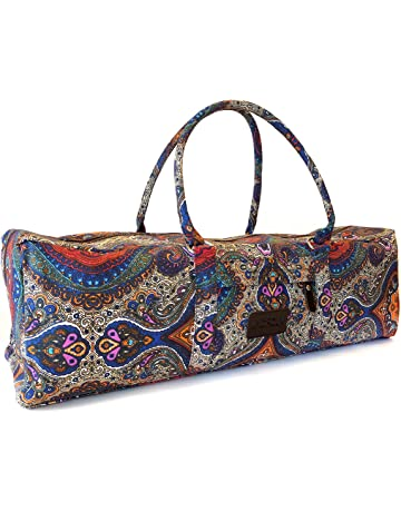 a809a65f1935 ... Fits Most Mat Sizes. Kindfolk Yoga Mat Duffle Bag Patterned Canvas with  Pocket and Zipper