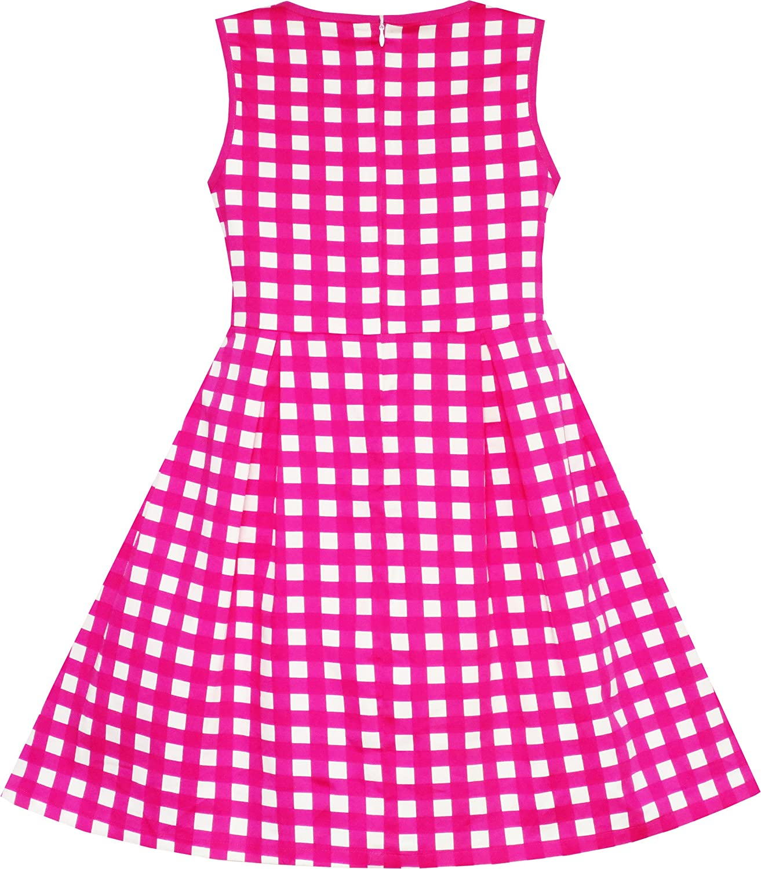 Sunny Fashion Girls Dress Turn-Down Collar Checkered Black White Summer 7-14