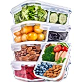 Glass Meal Prep Containers 2 Compartment Meal Prep Containers Glass (36 Ounce, 5 Pack) - Glass Food Prep Containers Glass Div
