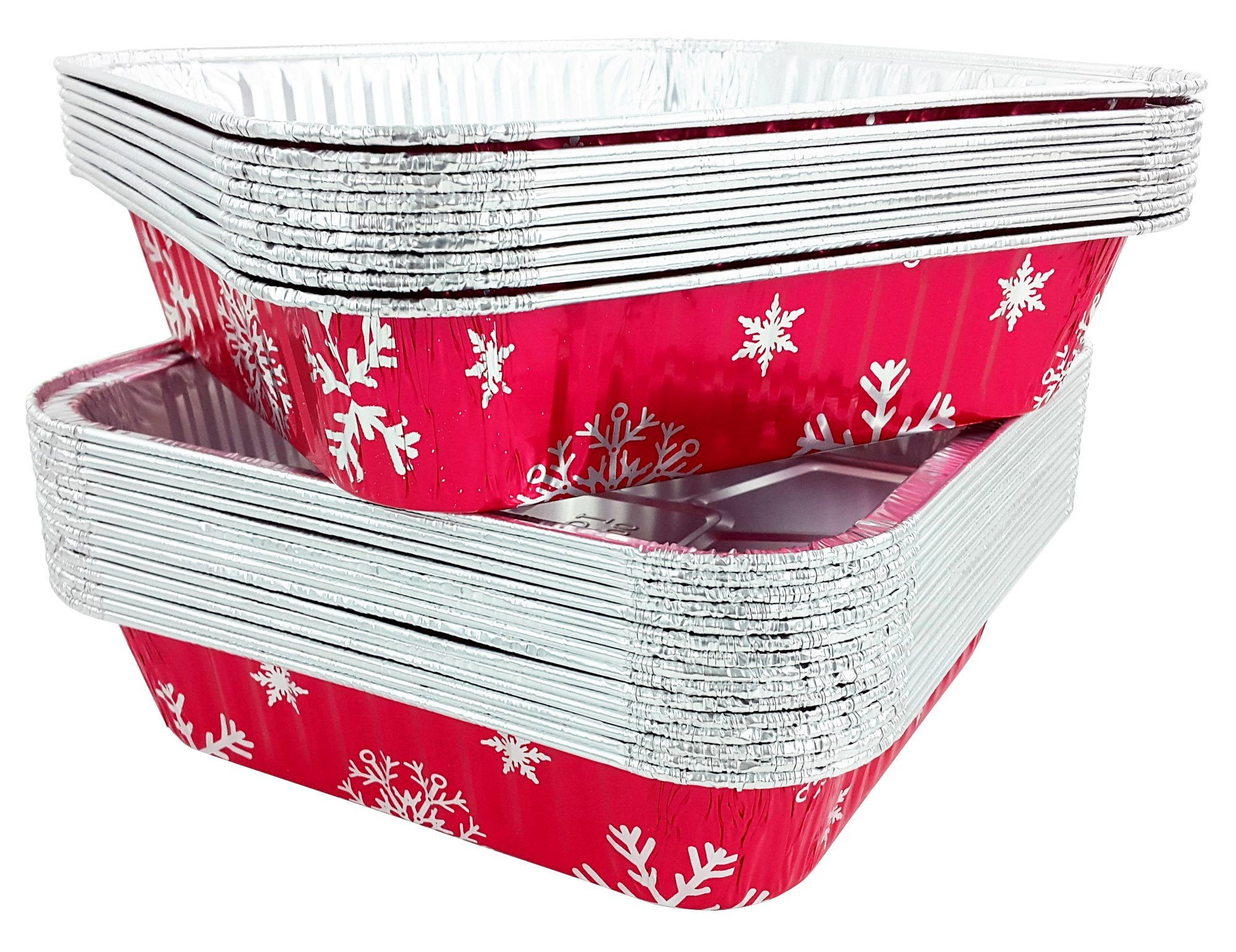 Pactogo Red Holiday Christmas Square Cake Aluminum Foil Pan w/Clear Dome Lid Disposable Baking Tins (Pack of 25 Sets)