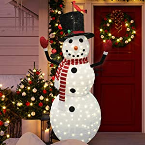 Joiedomi 6ft Tinsel Collapsible Snowman LED Yard Light for Christmas Outdoor Yard Garden Decorations, Christmas Event Decoration, Christmas Eve Night Decor