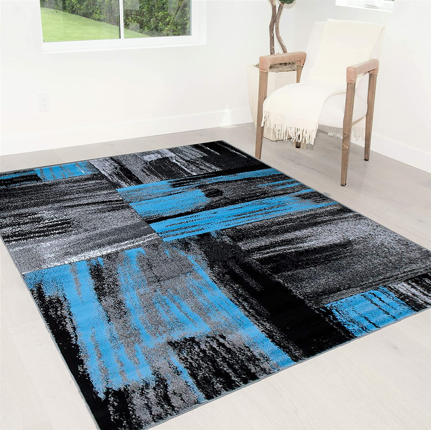 Handcraft Rugs Blue Gray Silver Black Abstract Contemporary Modern Brush Design Mixed Colors Area Rug Kitchen Dining