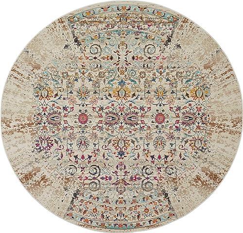 Nourison Vintage Kashan Multicolor Boho Area Rug 6, 6 X6 ROUND, IVORY