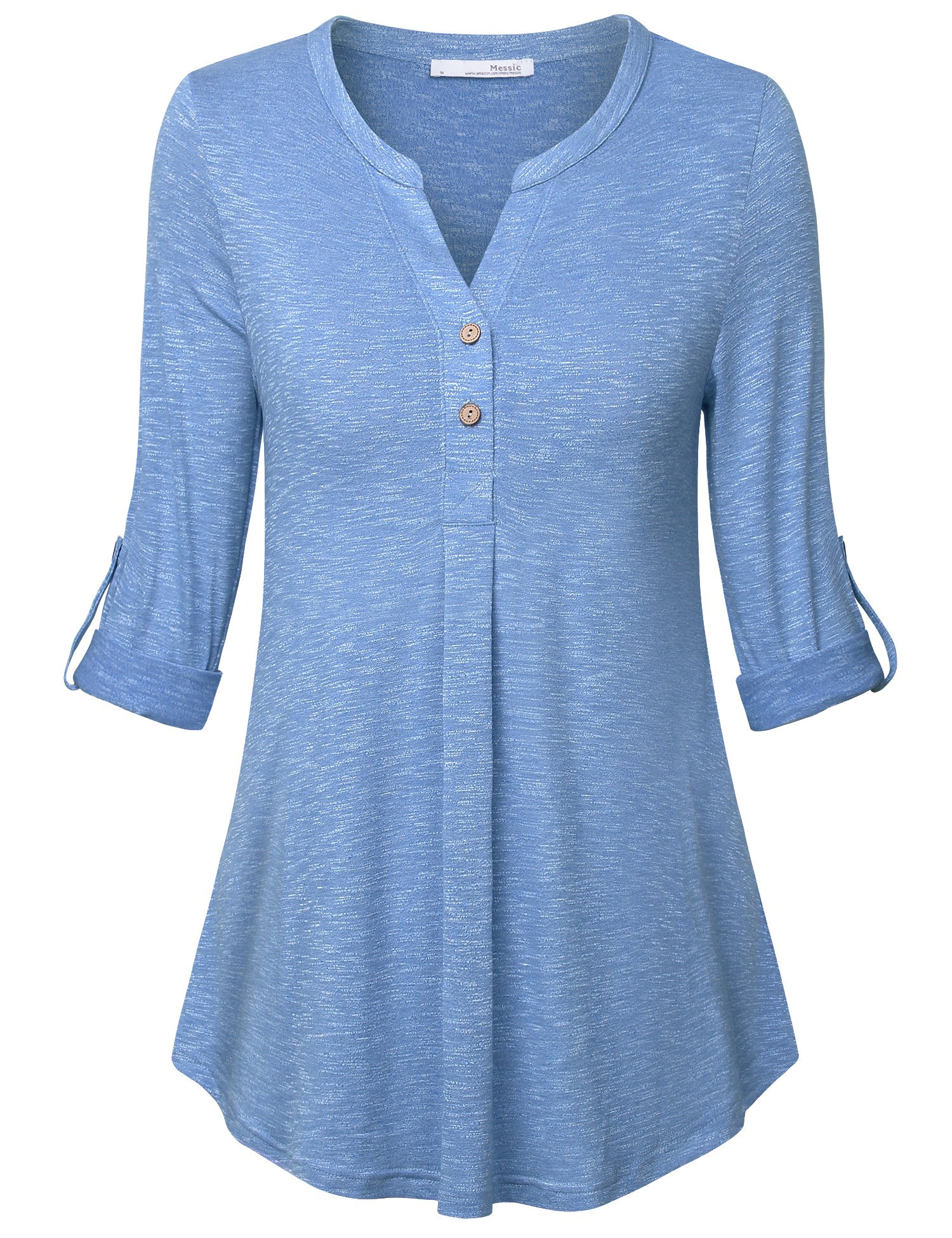 Messic Office Tops for Women,Woman's Notch V Neck Vintage Short Sleeve Flare A Line Loose Pleated Shirt Daily Wear Light Blue,Large