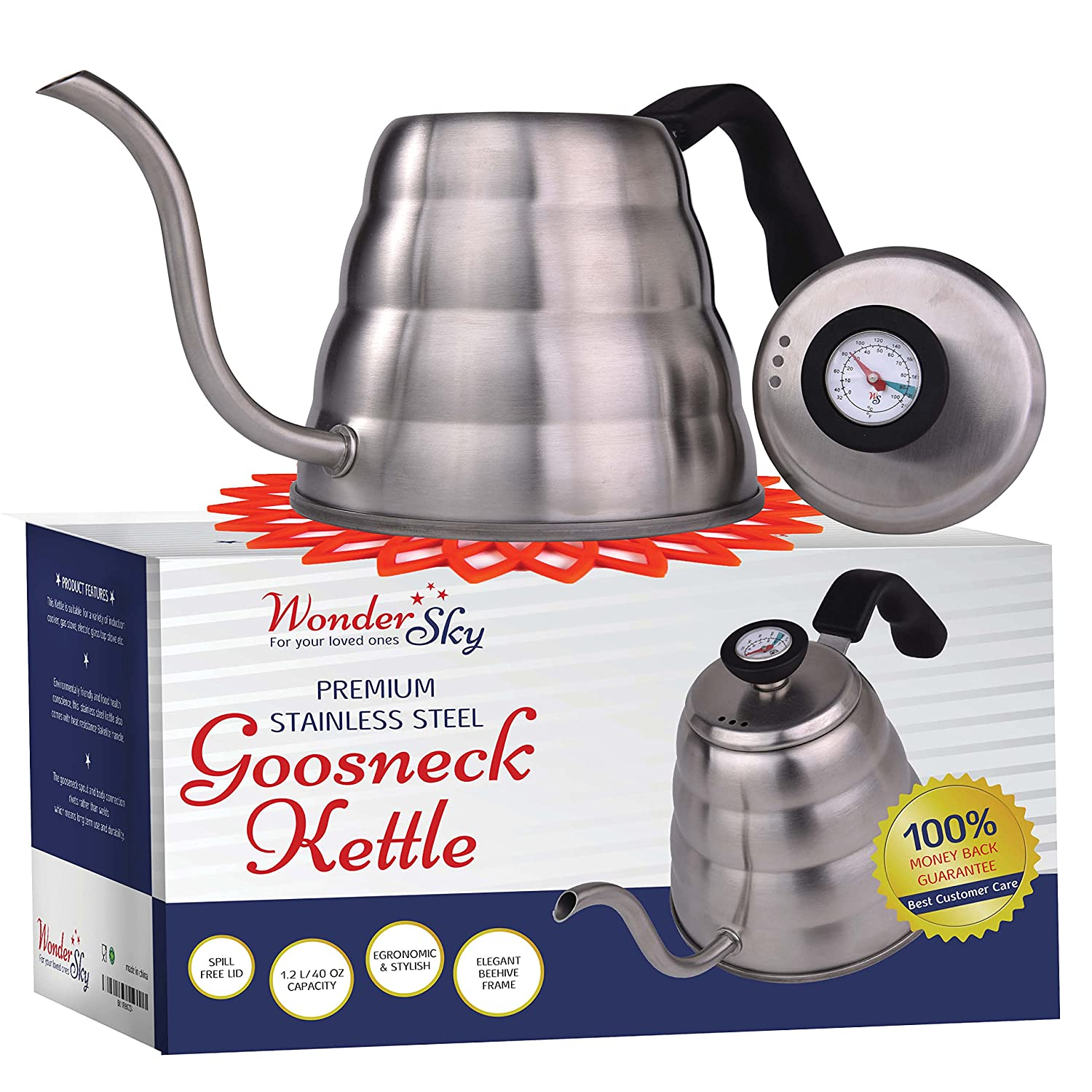 Pour Over Coffee Kettle with THERMOMETER for Precise Temperature 40floz – Gooseneck Tea Kettle – 5 Cup Stainless Steel Teapot for Stovetop – FREE Silicone Hot Tea Kettles Coaster – Black 1.2L