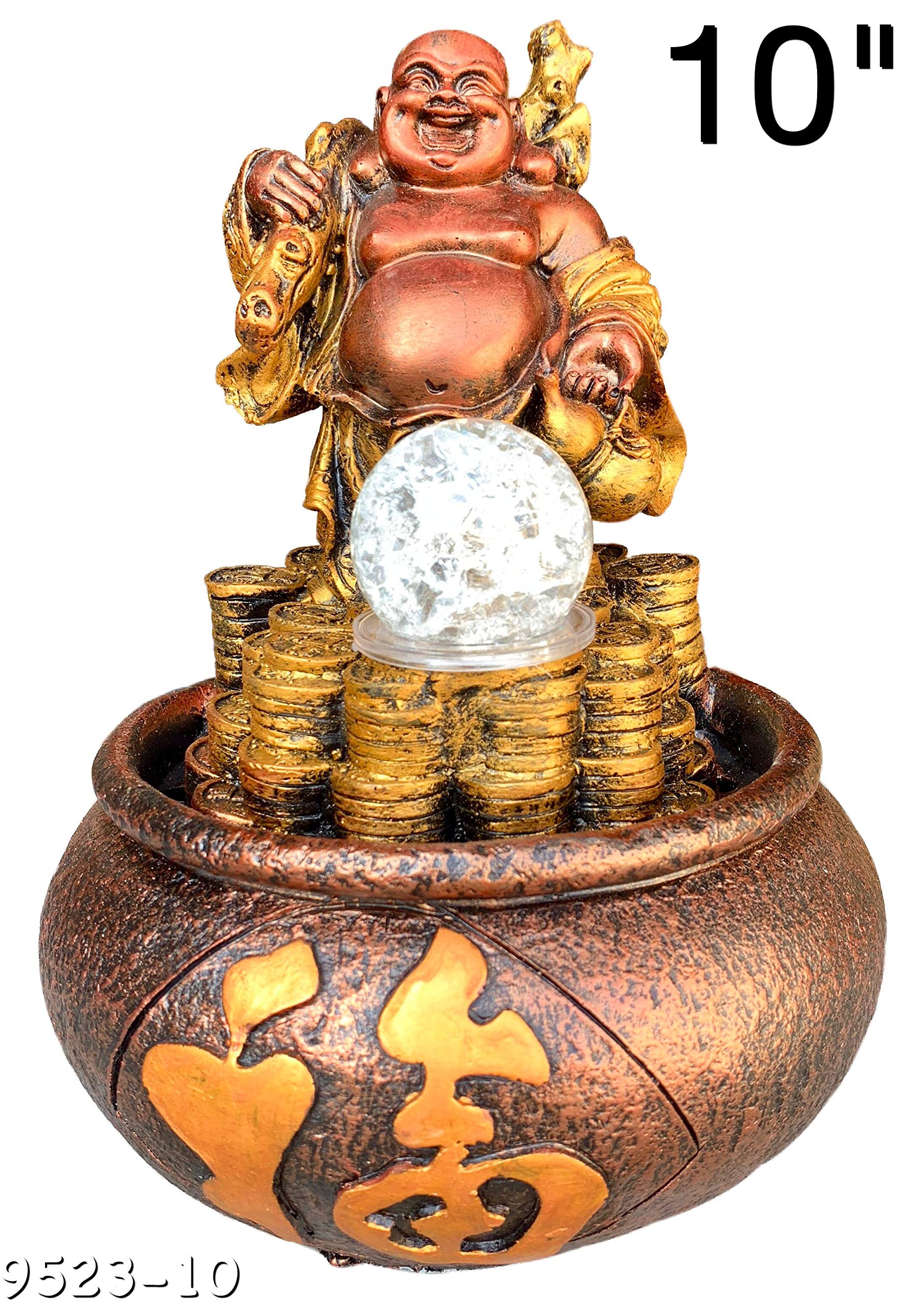 Buddha Water Fountain Led Light Indoor/Outdoor Water Pump Included 10'' Inch Statue