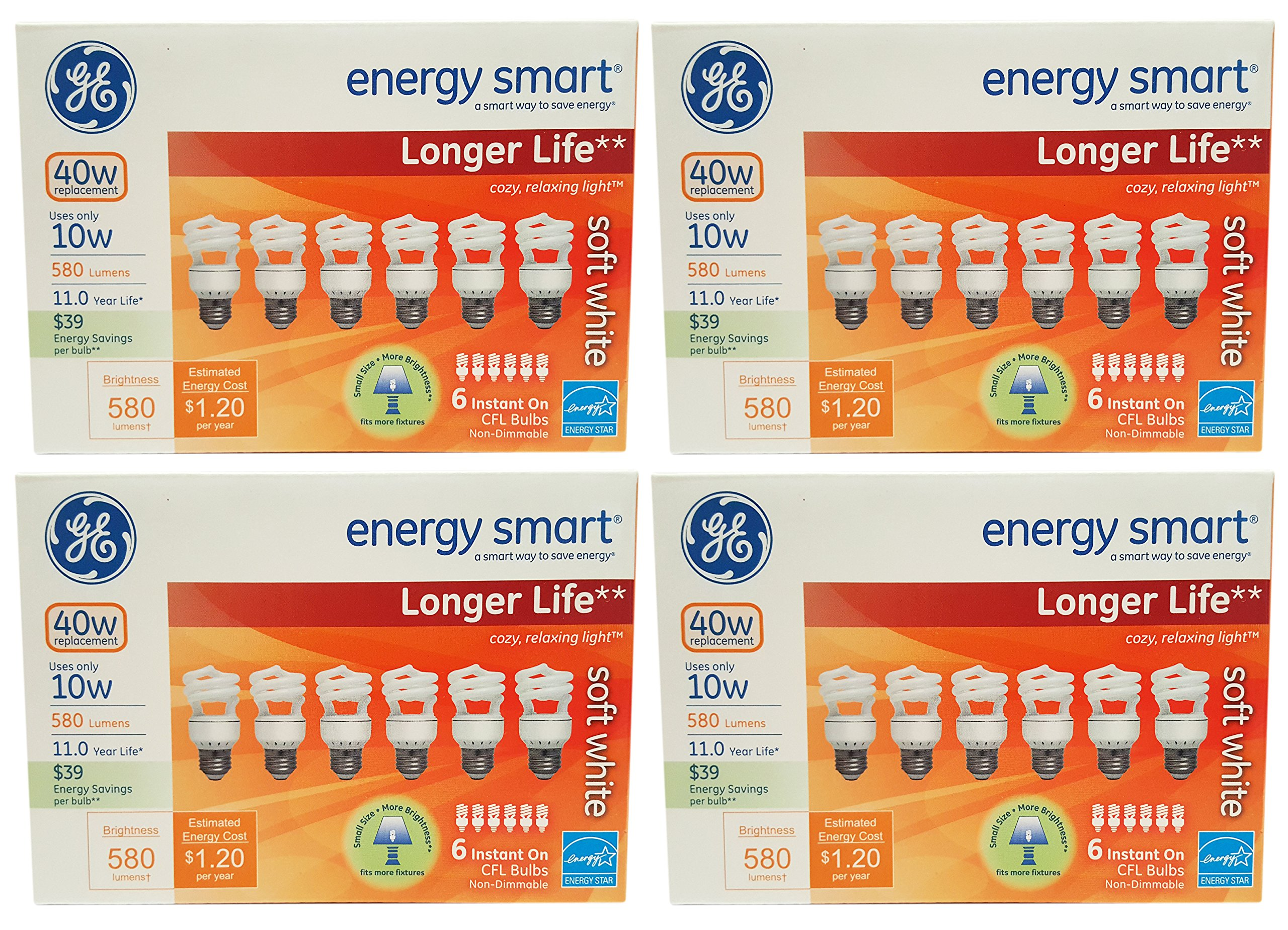 Set of 24 GE Lighting 68510 Energy Smart CFL Bulbs - 10-Watt (40-Watt Replacement) - 11 Years of Life - 580 Lumen - Soft White with Medium Base