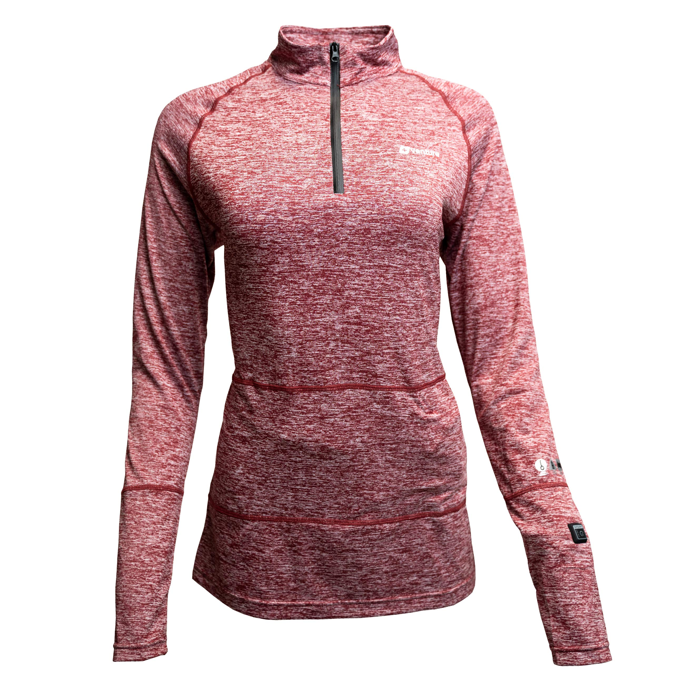 Venture Heat Women's Heated Shirt Thermal Underwear with Battery Pack - Long John, 1/4 Zip Electric Base Layer, Nomad (XL, Mauve) by Venture Heat