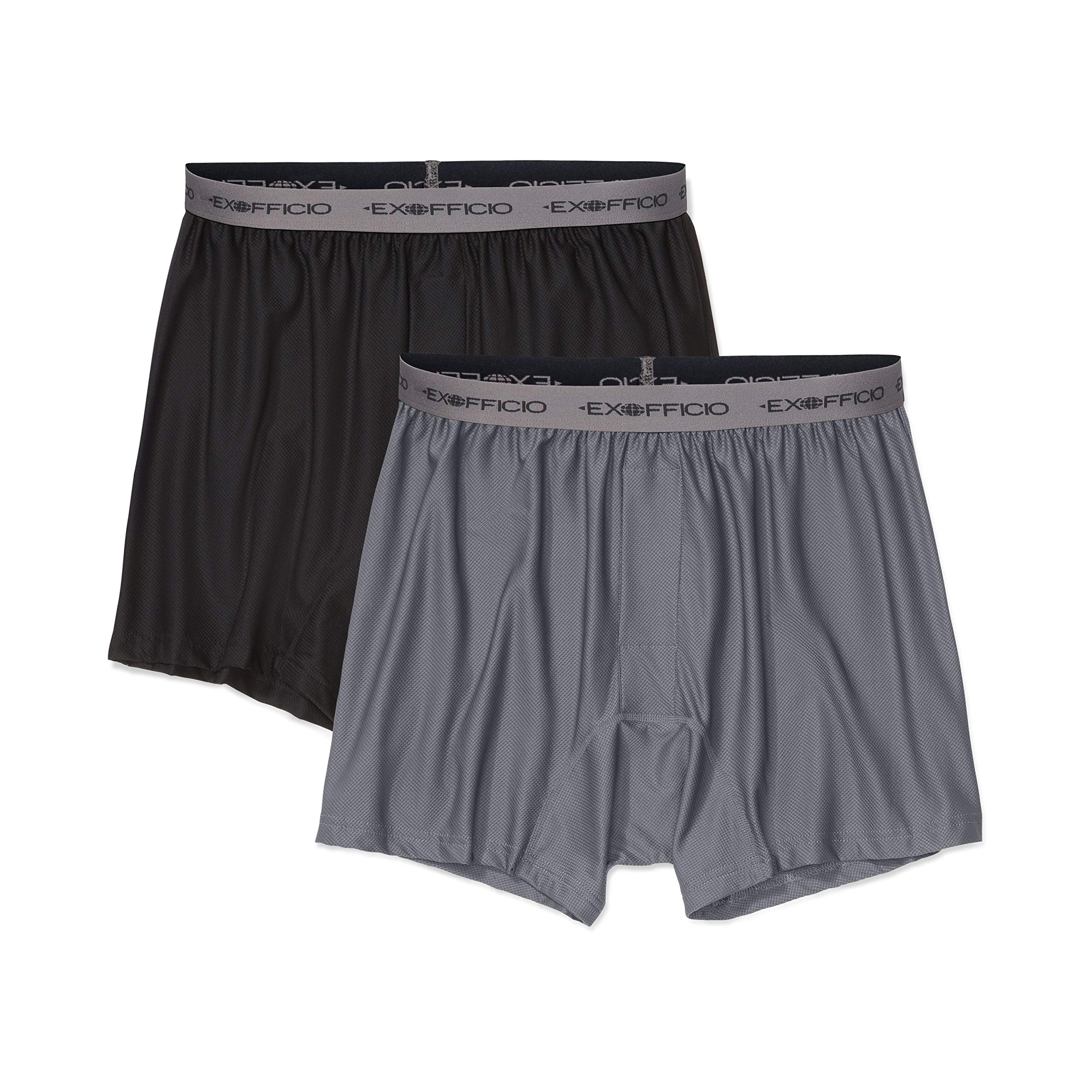 ExOfficio Men's Give-N-Go Boxer,  Granite/Black,  2 Pack - X-Large by ExOfficio