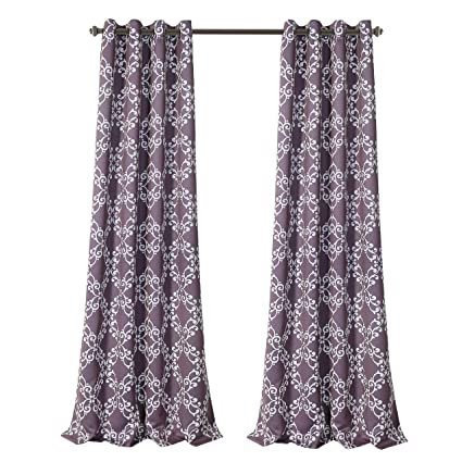 MYSKY HOME Purple Curtains For Bedroom Moroccan Floral Tile Print Thermal  Insulated Blackout Drapes For Living