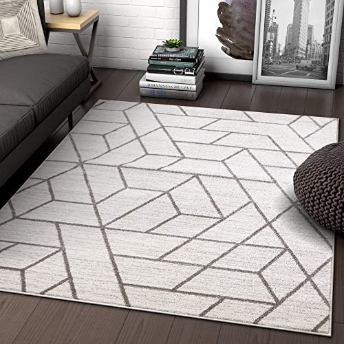 Well Woven Alli Geometric Ivory Modern Abstract Geometric Shapes Area Rug 8×11 7'10″ x 9'10″