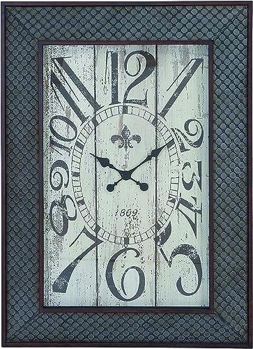 Benzara Designed Metal Wood Wall Clock with Mesh Pattern