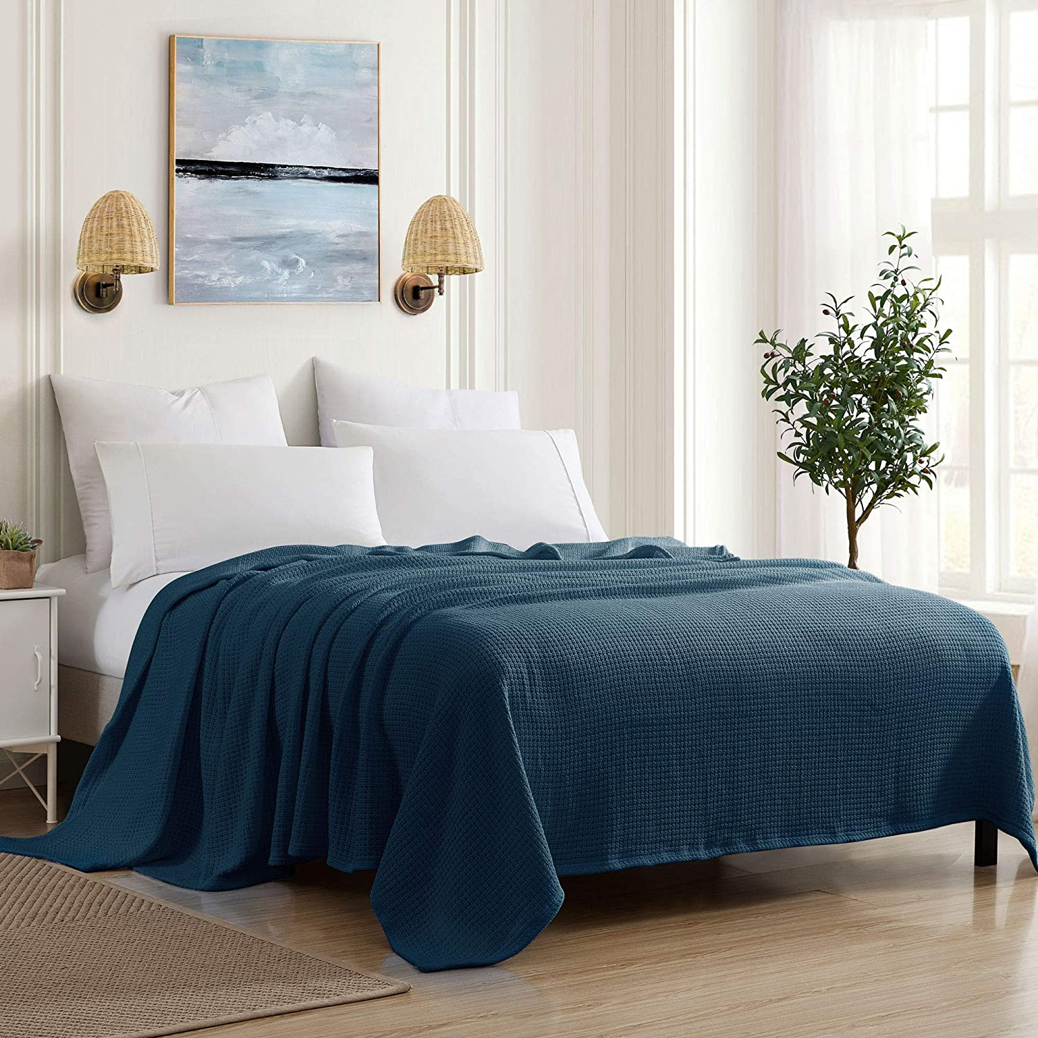 Sweet Home Collection 100% Fine Cotton Blanket Luxurious Breathable Weave Stylish Design Soft and Comfortable All Season Warmth, King, Navy