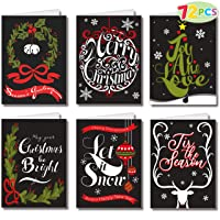 """72 Piece Holiday Christmas Greeting Cards with 6 Artistic Greeting Designs & Envelopes 6.25"""" x 4.6"""