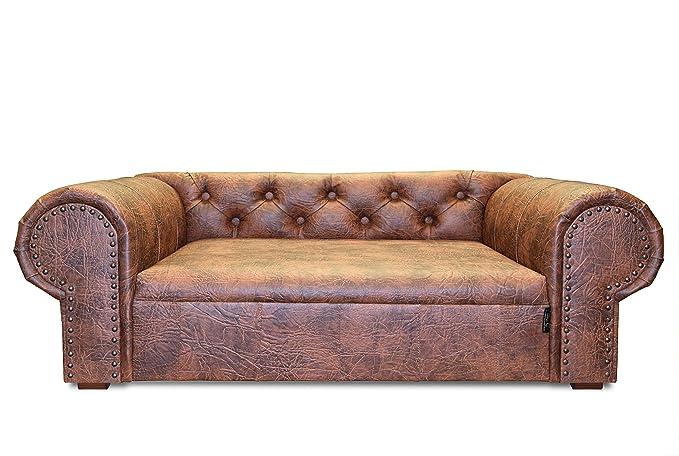 Edy Design ED OHA001 Hundesofa Ohio New Chesterfield, XL, Cognac:  Amazon.de: Haustier