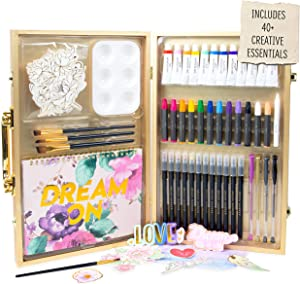 STMT DIY Designer Art Studio by Horizon Group USA, Kit Includes 40+ Art Making Essentials.Water Colors,Oil Pastels,Brush Markers,Spiral Art Pad & More