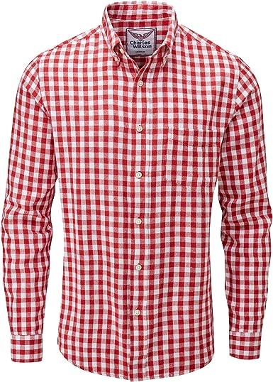 Charles Wilson Camisa Franela de Cuadros Manga Larga para Hombre (Medium, Red & White 2): Amazon.es: Ropa y accesorios