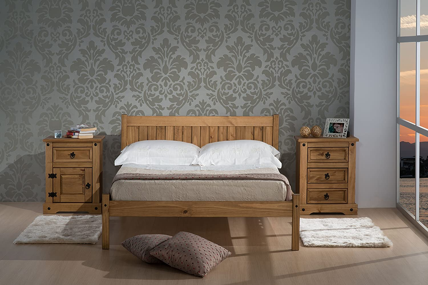Birlea Rio Bed - Wood, Waxed Pine, Small Double: Amazon.co.uk ...