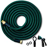 Josy&co. 50 ft Expandable Garden Hose. Triple Latex Layers. Flexible, Kink-Free, Brass Fittings, Steel Assembly Clamps. Expanding Water Hose Includes 8-Pattern Spray Nozzle & Hanger. 12 Month Warranty
