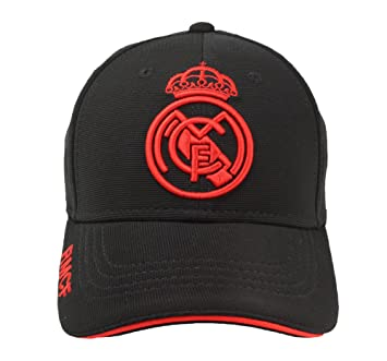 Real Madrid FC Gorra Adulto Producto Oficial Negra Rojo 2018 2019 ... 0933cea151b