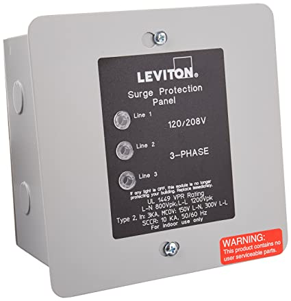 Leviton 51120-3 3-Phase Panel Protector, 120/208-Volt - Circuit ...