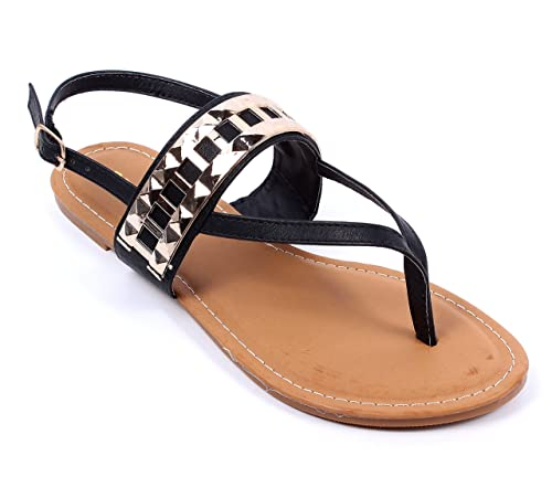 63468ebb59dbf BAMBOO Black w Gold Casual Buckle Cute Ladies Fashion Slingbacks Flats Womens  Sandals Shoes New