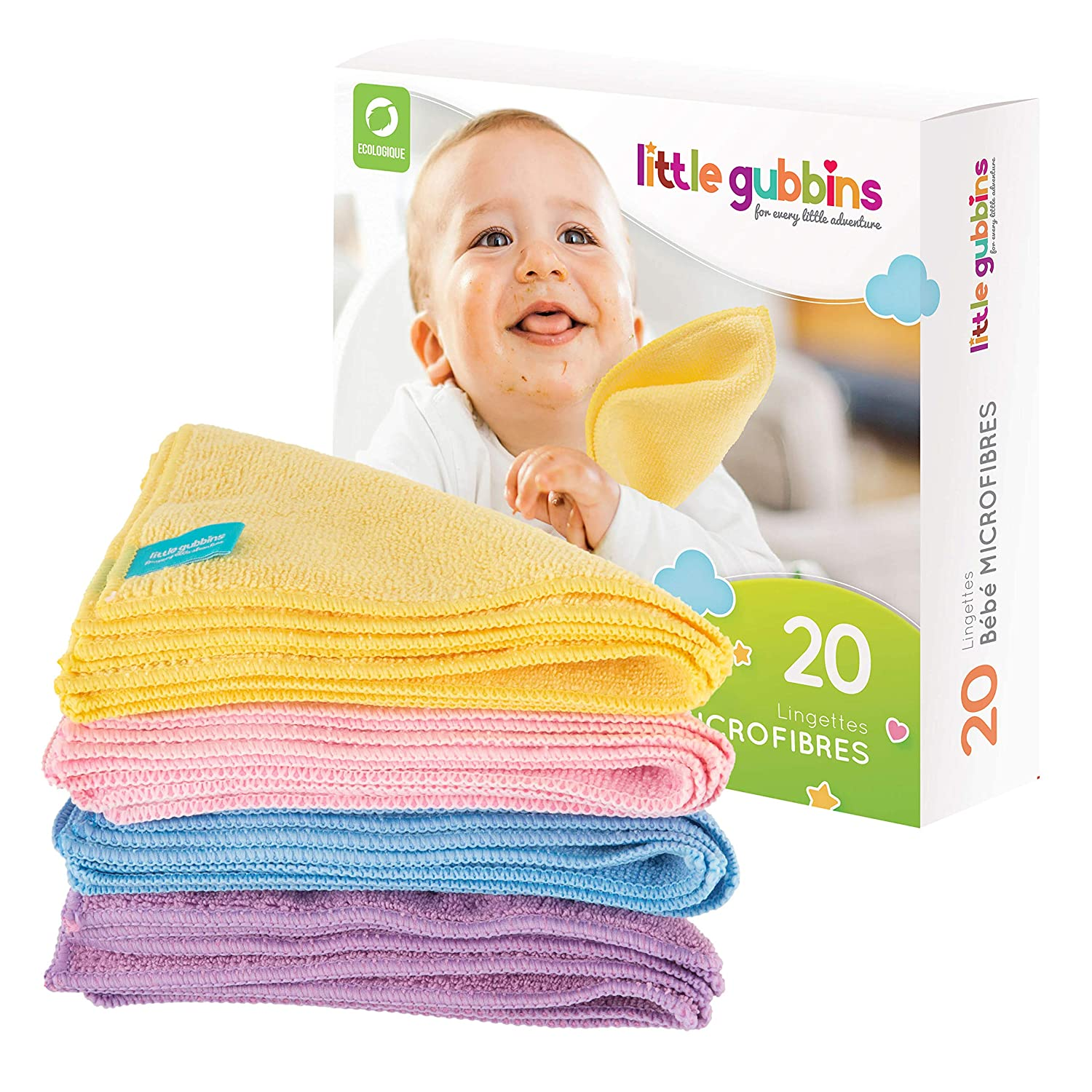 20 x Microfibre Baby Wipes by Little Gubbins | Pack of Dry, Unscented Cloths