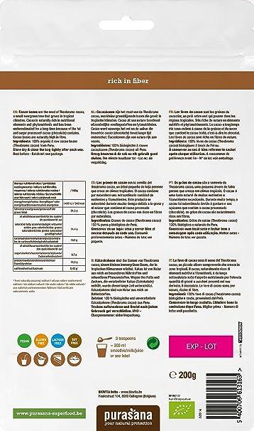 pura Sana - Granos de cacao bio 200 g: Amazon.es: Salud y ...