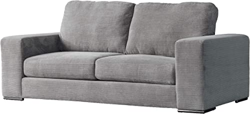 Acanva Luxury Classic Modern Corduroy Large Living Room Sofa, 3-Seater Couch, Light Grey