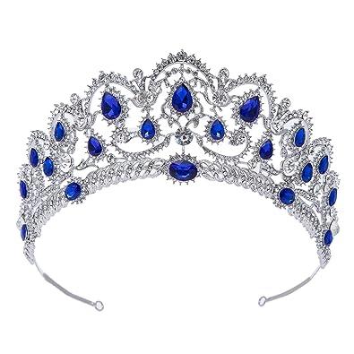 SWEETV Blu Cristallo Corona Regina - Donna Diadema Sposa Nozze ... 0436b262ae71