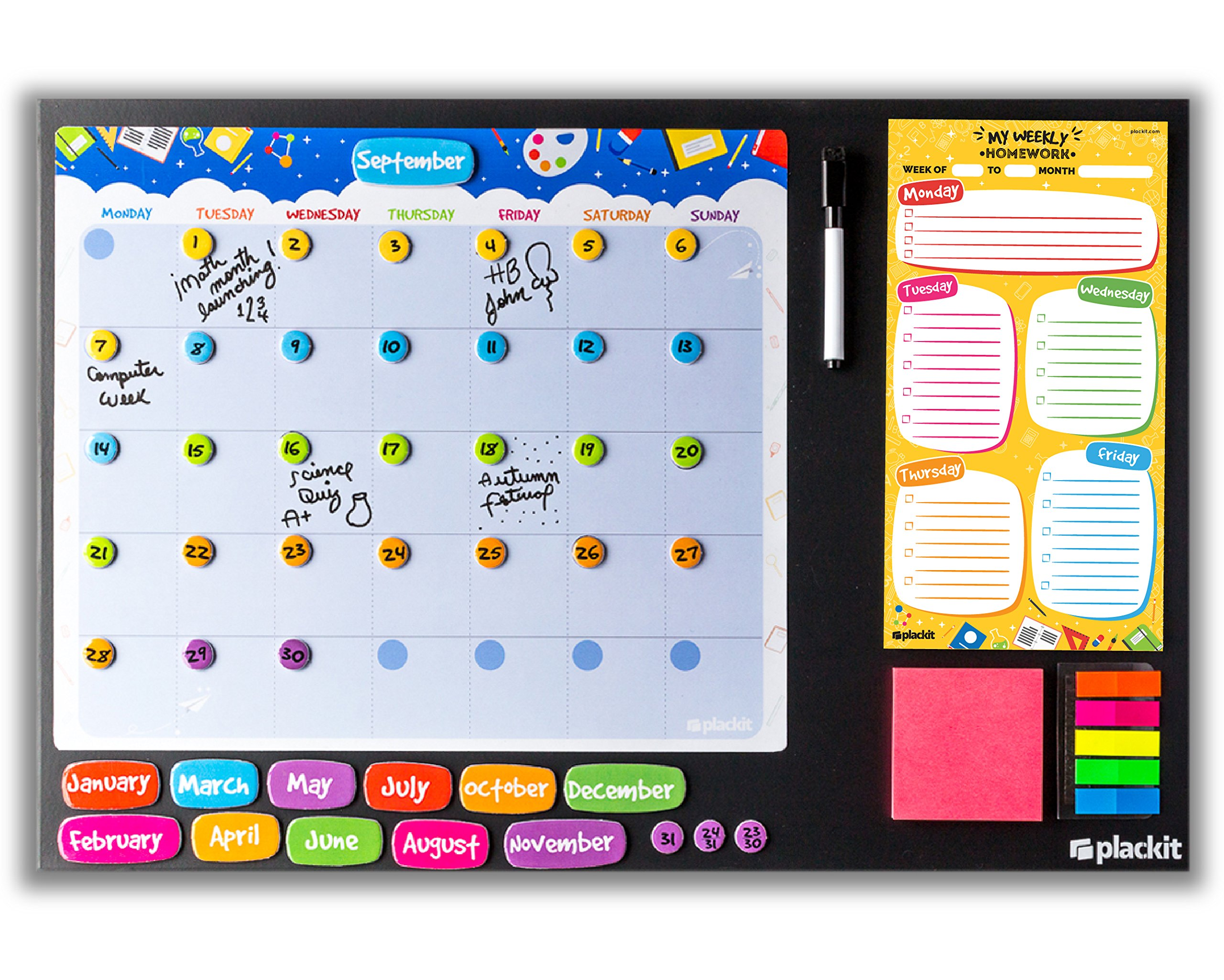 Plackit - School Command Center Kit Planner ( 23.6'' x 15.7'' ) - Magnetic Borderless Chalkboard, Magnetic Calendar, Magnetic Homework Notepad, Magnetic Sticky Notes