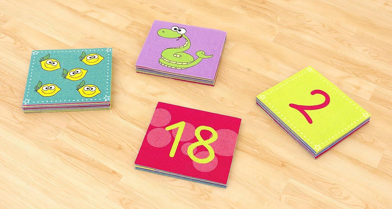 Farbenfrohe Teppichfliesen, 20 Zahlen und 10 Bildmotive, 32x 28,5 cm, Spielteppich, Rechenspiel, Rechnen lernen