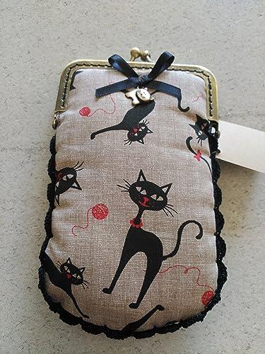 Funda de gafas o móvil hecho a mano tela gatos negros.