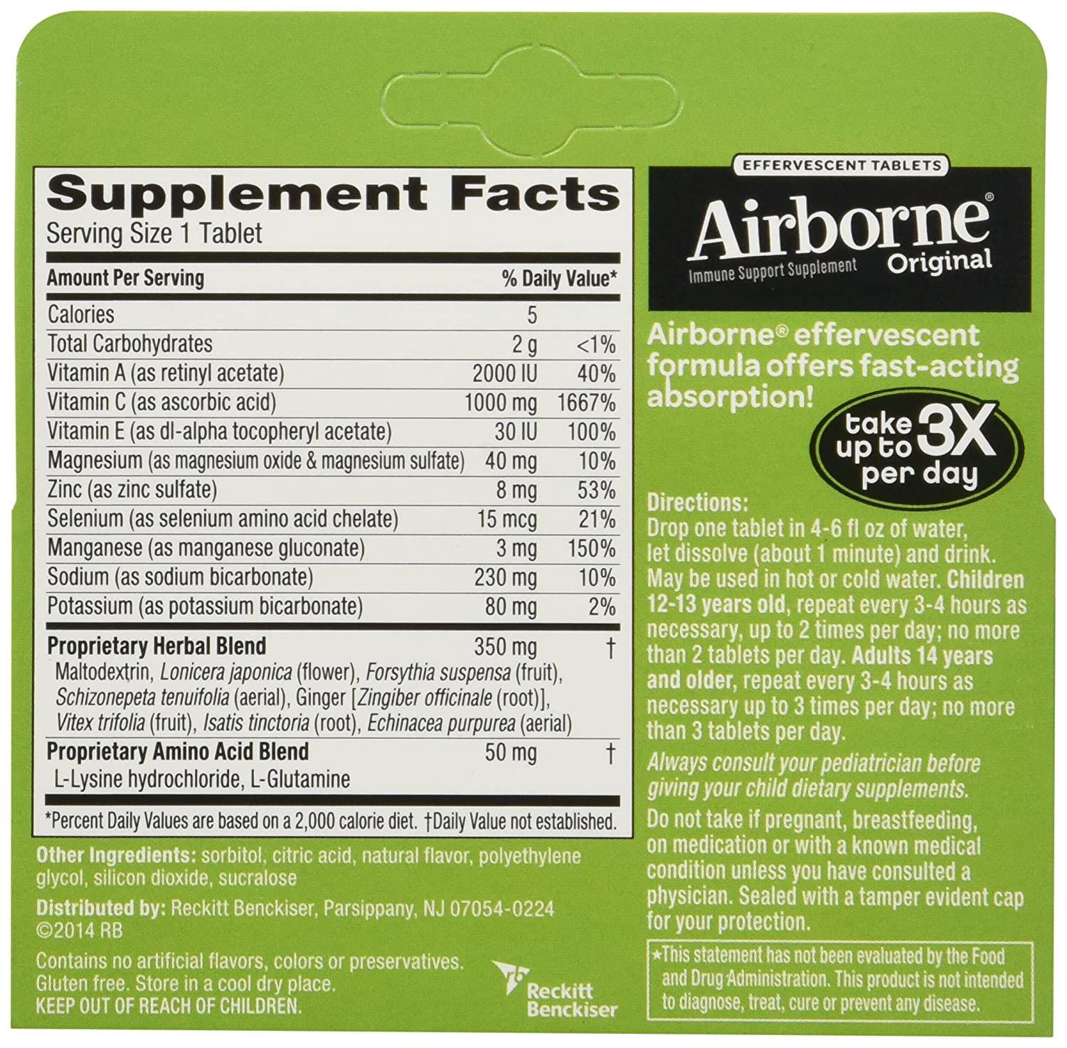 Amazon.com: Airborne Vitamin C 1000mg Immune Support Supplement, Effervescent Formula Lemon-lime 2Pack (72 Count Tablets Total) Mk#!jd: Health & Personal ...